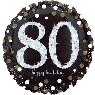 80 jaar ballon goud - zwart