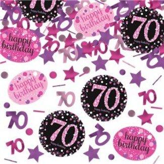 70 jaar confetti roze - zwart