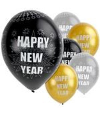 Happy new year ballonnen zwart - goud