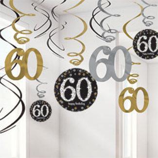 60 jaar slingers goud - zwart