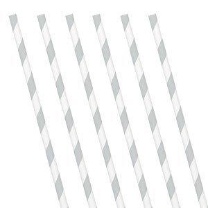 Papieren rietjes zilver streep