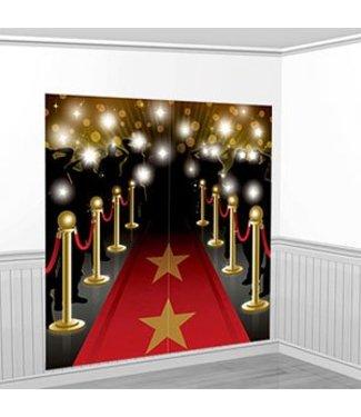 Rode loper wand versiering ster
