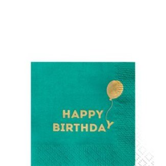 Happy birthday servetten groen