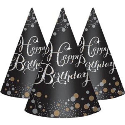 Happy birthday feesthoedjes zwart - goud