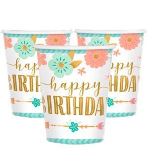 Boho happy birthday bekers