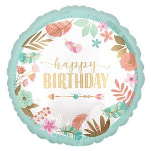 Boho happy birthday ballon