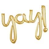 YAY tekst ballon goud hand geschreven
