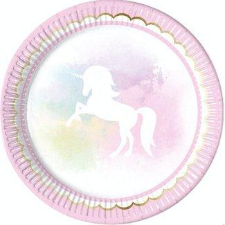 Unicorn pastel roze borden
