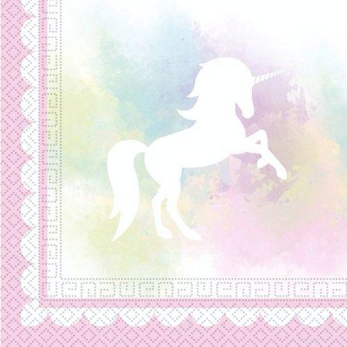 Unicorn pastel roze servetten
