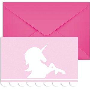 Unicorn pastel roze uitnodigingen