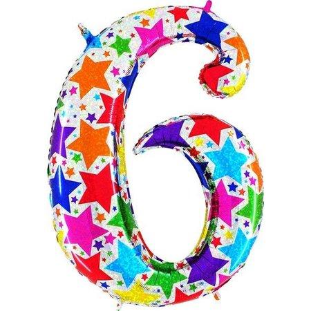 Cijfer ballon regenboog sterren