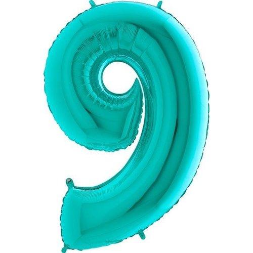 Turquoise cijfer ballon XL