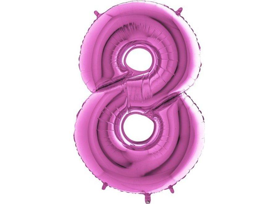 Cijfer ballon Fuchsia XL