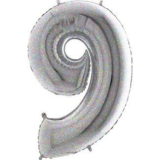 Cijfer ballon zilver shine