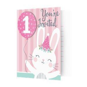 Bunny eerste verjaardag uitnodigingen