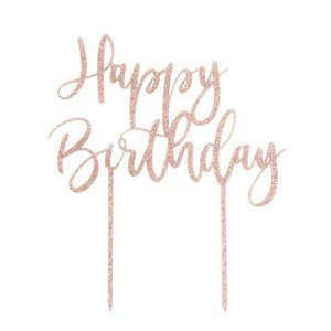 rose goud happy birthday taart topper