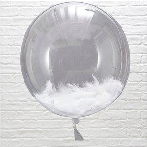 Ballon met veren wit