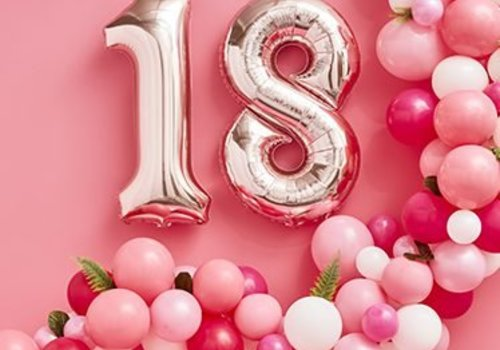 18 jaar feestartikelen goud - roze