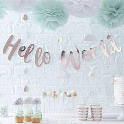 Hello World mint groen feestartikelen,voor geboorte en babyshower
