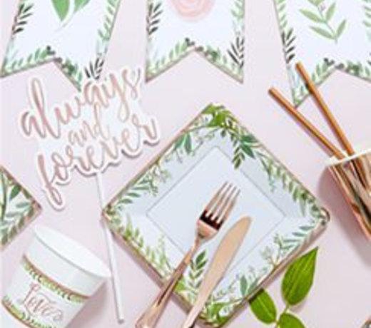Love & Leaves rosé feestartikelen en versiering