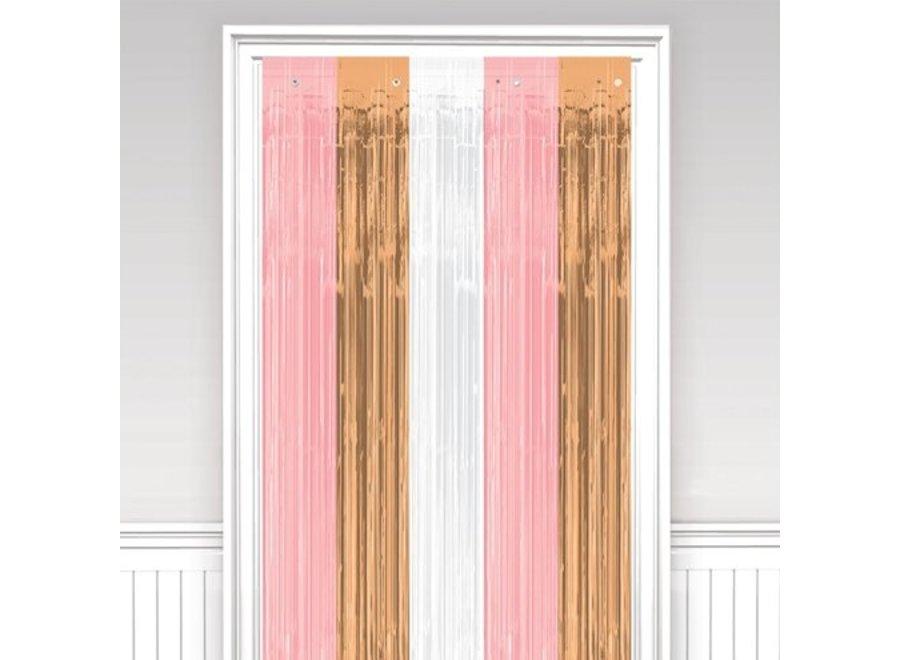 rosé goud - roze - wit deur gordijn
