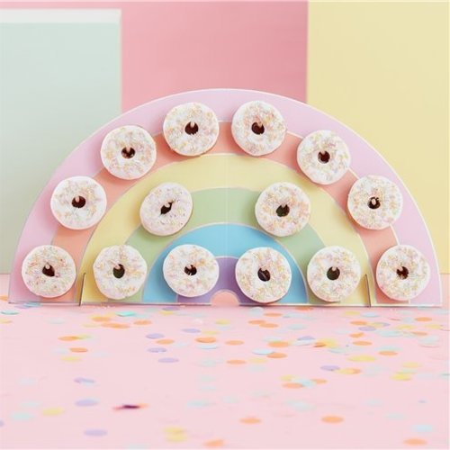 Regenboog donut muur