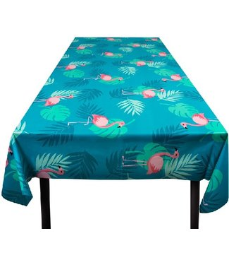 Flamingo tafelkleed blauw