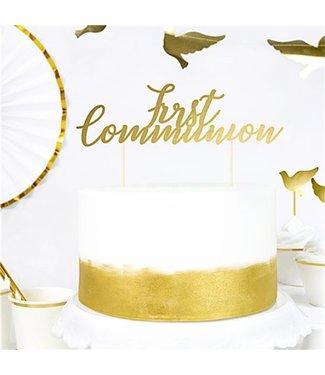 Communie taart topper goud