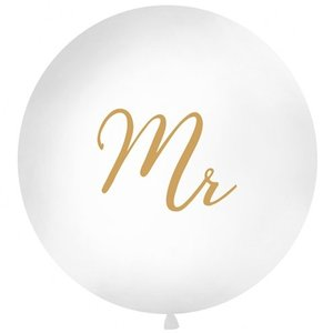 MR XL ballon wit - goud