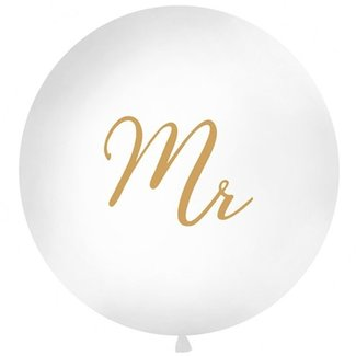 MR XL ballon wit - goud
