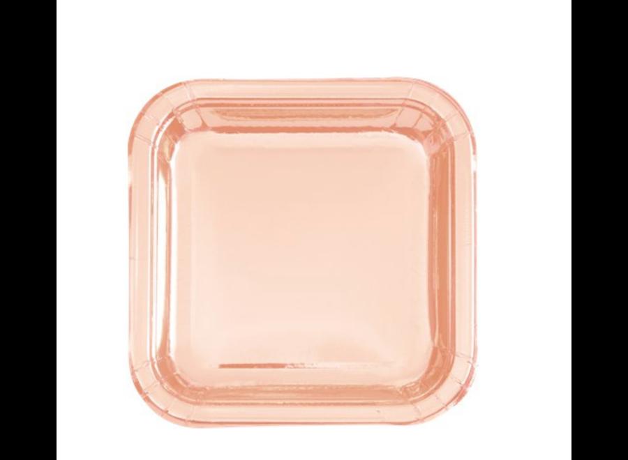 rosé goud gebaksborden vierkant