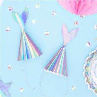 Mermaid feesthoedjes iridescent