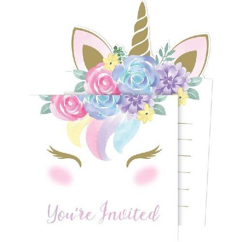 Unicorn uitnodigingen goud