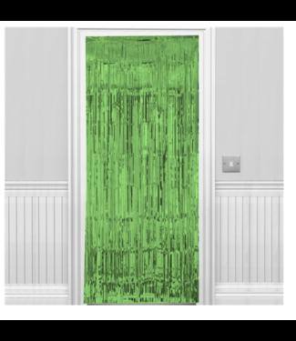 Deur gordijn metallic groen