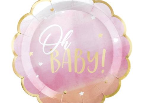Oh baby blauw - roze feestartikelen