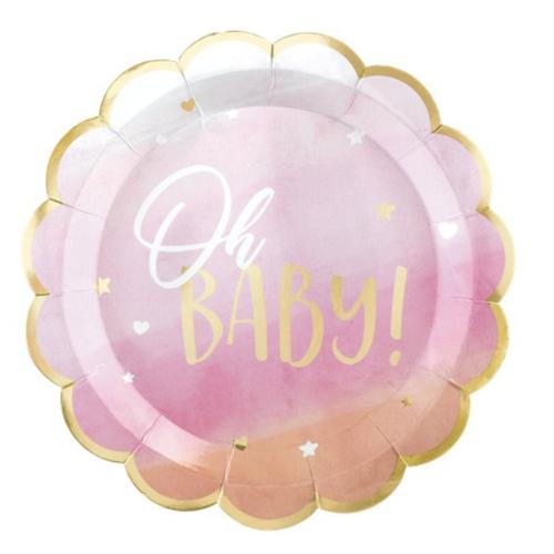Oh baby blauw & Roze feestartikelen en versiering