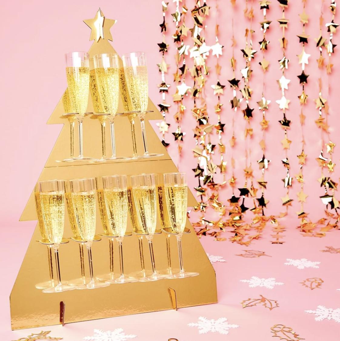 kerstboom champagne toren