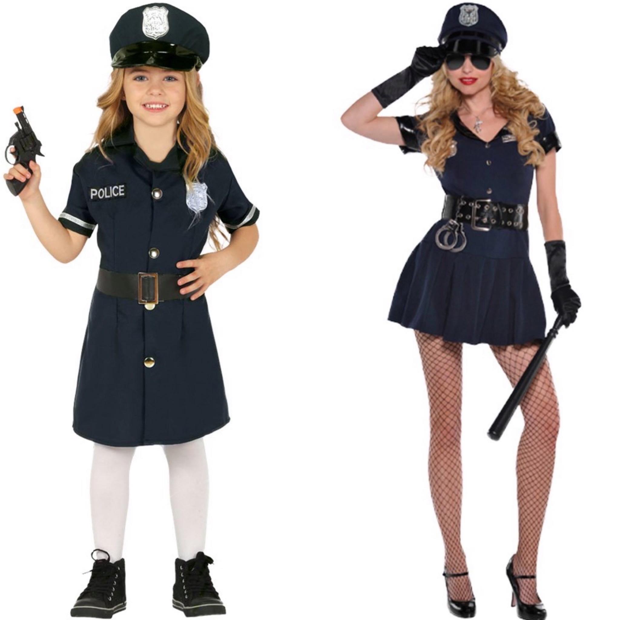 Politie kostuum moeder en dochter
