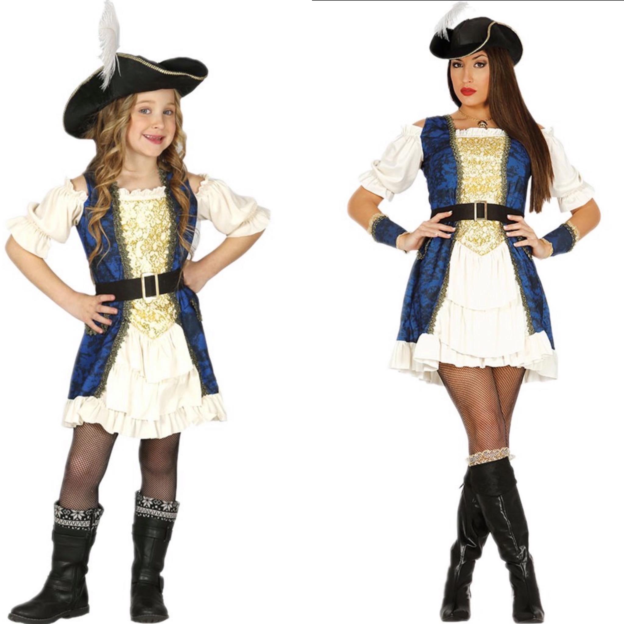 Piraat moeder en dochter kostuum