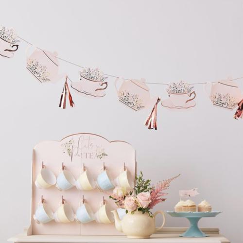 Tea party rosé versiering en feestartikelen