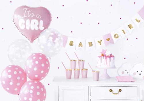 Babyshower roze feestartikelen