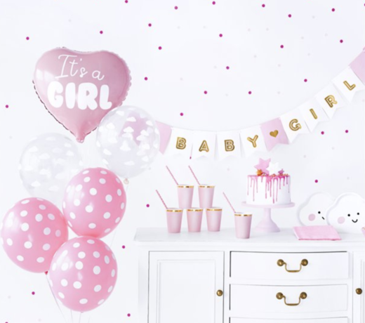 Babyshower roze versiering en feestartikelen