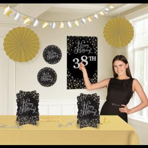 Sparkle decoratie set goud - zwart