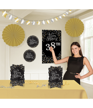 Sparkle decoratie set goud - zwart