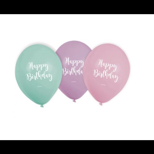 Pastel ballonnen happy birthday