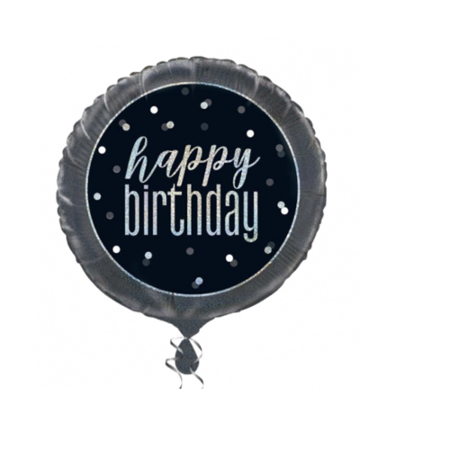 Happy birthday ballon zwart