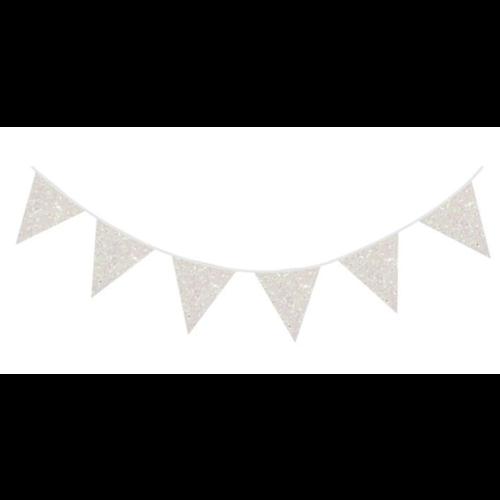 Glitter vlaggetjes wit