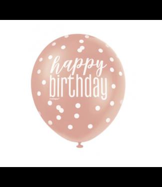 Happy birthday rosé goud - wit ballonnen