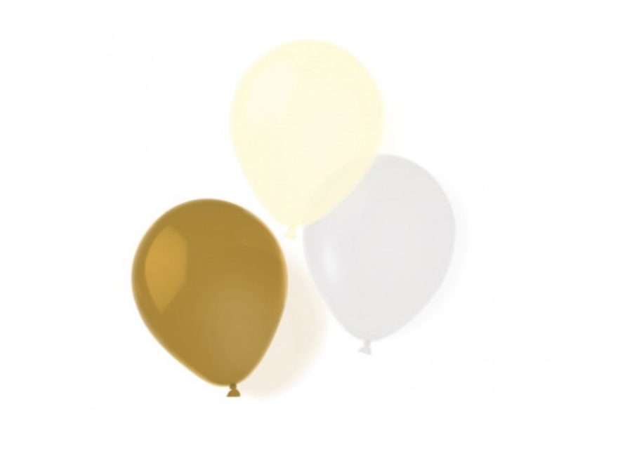 Ballonnen goud - wit - geel