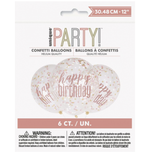 rose goud happy birthday confetti ballonnen